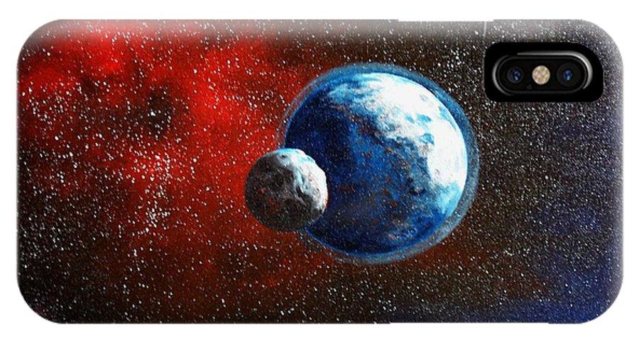 Astro IPhone X Case featuring the painting Broken Moon by Murphy Elliott