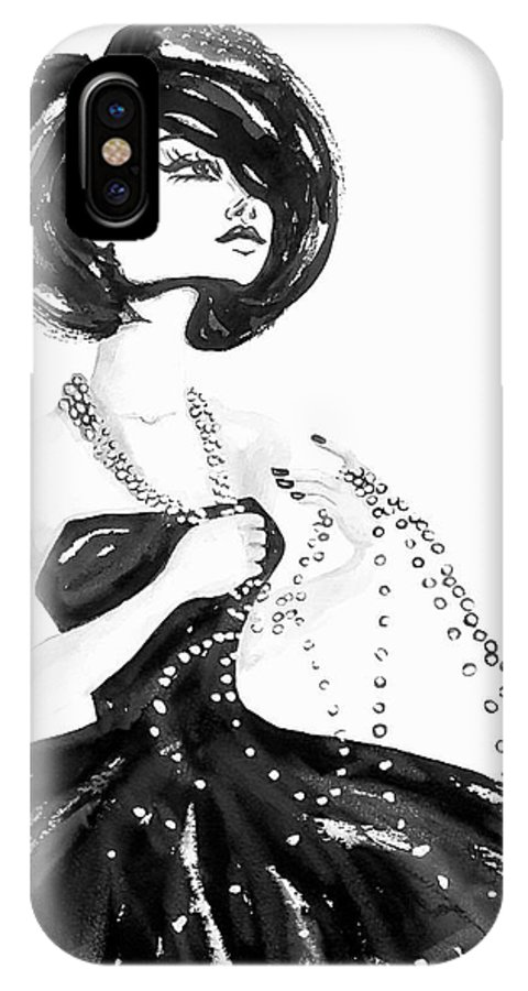 Esthers Prints & Cards IPhone X Case featuring the painting Broken Pearls by Esther Willsher