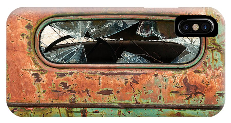 Truck IPhone X Case featuring the photograph Broken Rear View Window by Gene Rodman