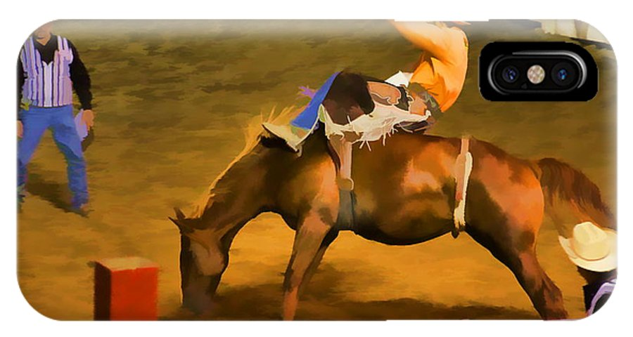 Cowtown Bronc Bucking Gate Cowboy Horse Rodeo IPhone X Case featuring the photograph Bronc Bucking Out The Gate by Alice Gipson