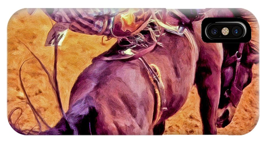 Rodeo IPhone X Case featuring the painting Bronco Bustin by Michael Pickett