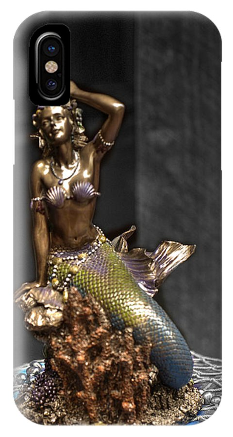 Mermaid IPhone X Case featuring the photograph Bronze Mermaid by John Straton