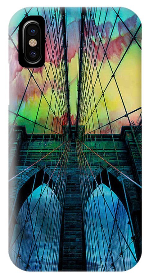 Brooklyn Bridge IPhone X Case featuring the digital art Psychedelic Skies by Az Jackson