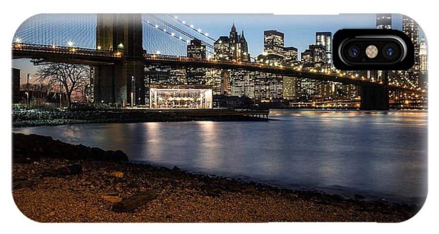 Brooklynbridge Manhattan Skyline Ny Newyork Landscape Cityscape Longexposure Worldtradecenter Freedomtower Brooklyn Dusk IPhone X / XS Case featuring the photograph Brooklyn Bridge View by Daniel Portalatin Photography