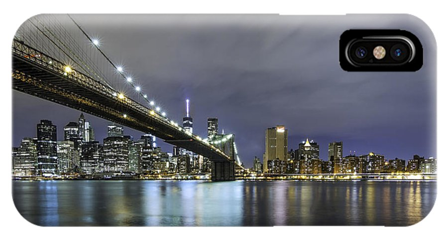 Sky Line Cityscape New York Nyc Ny IPhone X Case featuring the photograph Brooklyn Nights by Anthony Fields