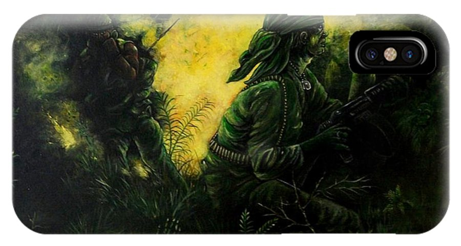 Vietnam IPhone X Case featuring the painting Brothers In Arms by Richard Brooks