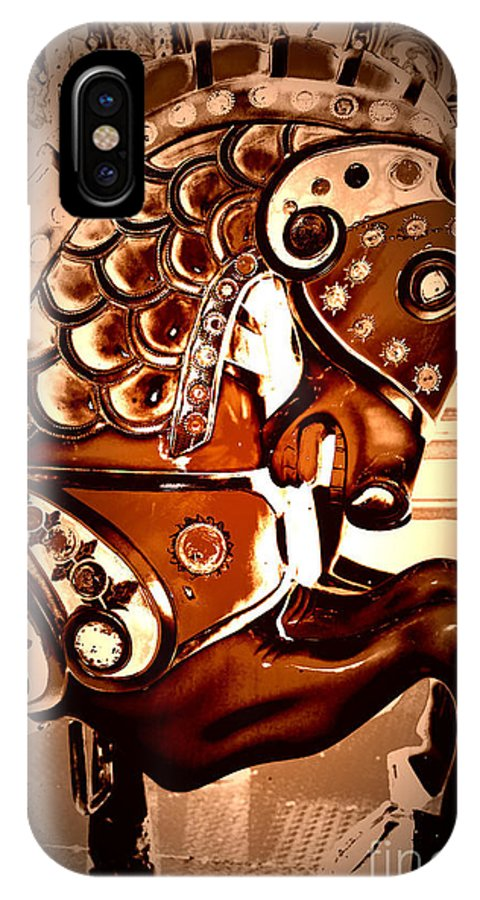 Carousel IPhone X Case featuring the digital art Brown Carousel Horse by Patty Vicknair