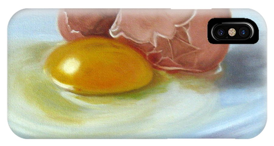 Egg IPhone X Case featuring the painting Brown Egg Study by LaVonne Hand