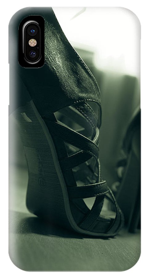 Brown IPhone X Case featuring the photograph Brown Leather High Heel Shoes by Vlad Baciu