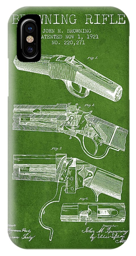 Rifle Patent IPhone X / XS Case featuring the digital art Browning Rifle Patent Drawing From 1921 - Green by Aged Pixel