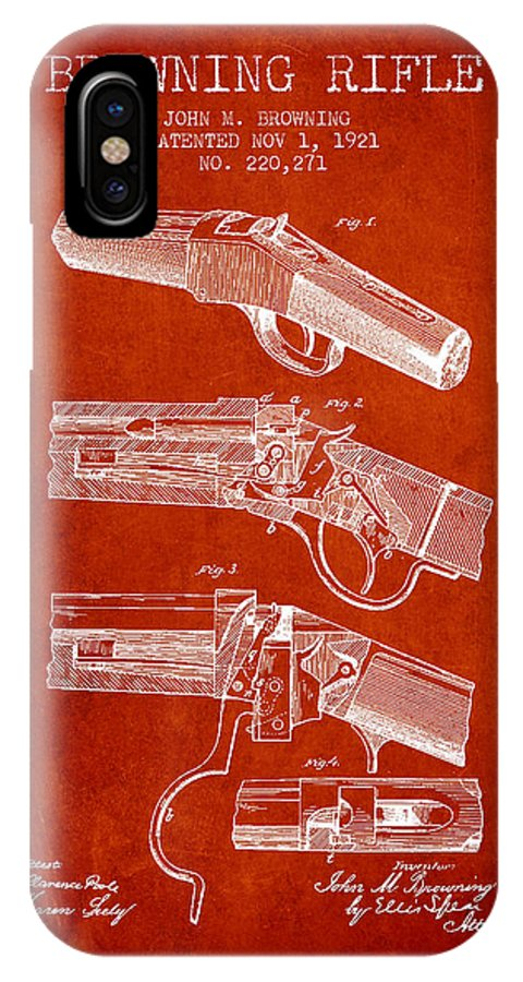 Rifle Patent IPhone X / XS Case featuring the digital art Browning Rifle Patent Drawing From 1921 - Red by Aged Pixel
