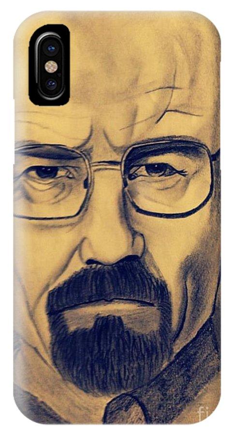 Bryan Cranston Fron The Series breaking Bad IPhone X Case featuring the drawing Bryan Cranston by Ajinkya Khot