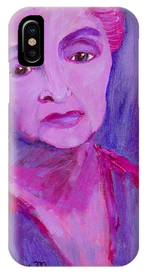 Bubbie IPhone X Case featuring the painting Bubbe Hinda by Laurie Morgan
