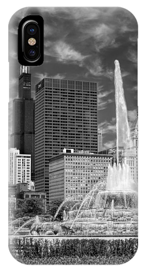 Buckingham Fountain IPhone X / XS Case featuring the photograph Buckingham Fountain Sears Tower Black And White by Christopher Arndt