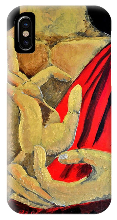 Buddha IPhone X / XS Case featuring the painting Buddha Bless You by Arijeet Chanda