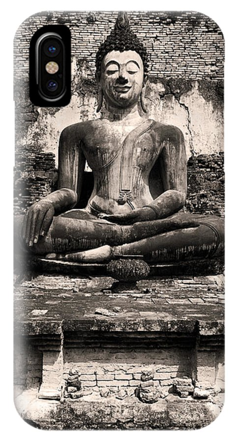 Antique IPhone X Case featuring the photograph Buddha In Meditation Statue by Artur Bogacki