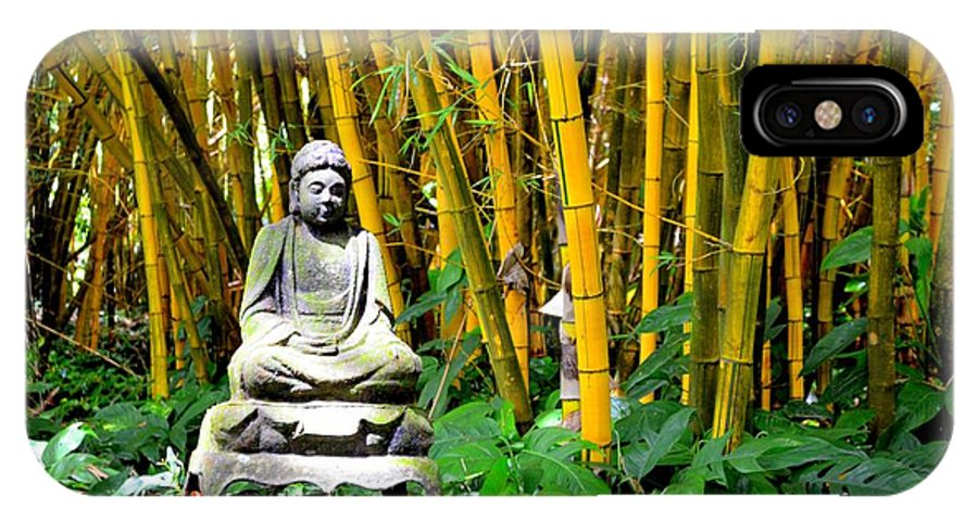 Buddha IPhone X Case featuring the photograph Buddha In The Bamboo Forest by Mary Deal
