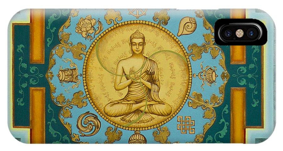 Buddha IPhone X Case featuring the painting Buddha. Jewels Of Dharma by Yuliya Glavnaya