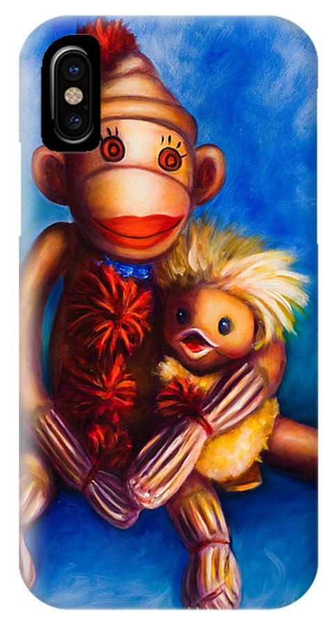 Sock Monkeys Brown IPhone X Case featuring the painting Buddies by Shannon Grissom