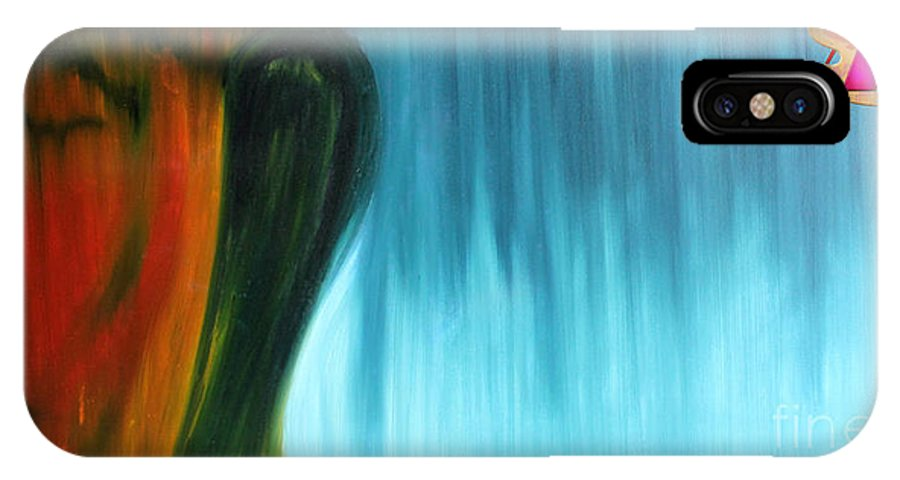 Budha IPhone X Case featuring the painting Budha by Amit Kumar Mehta