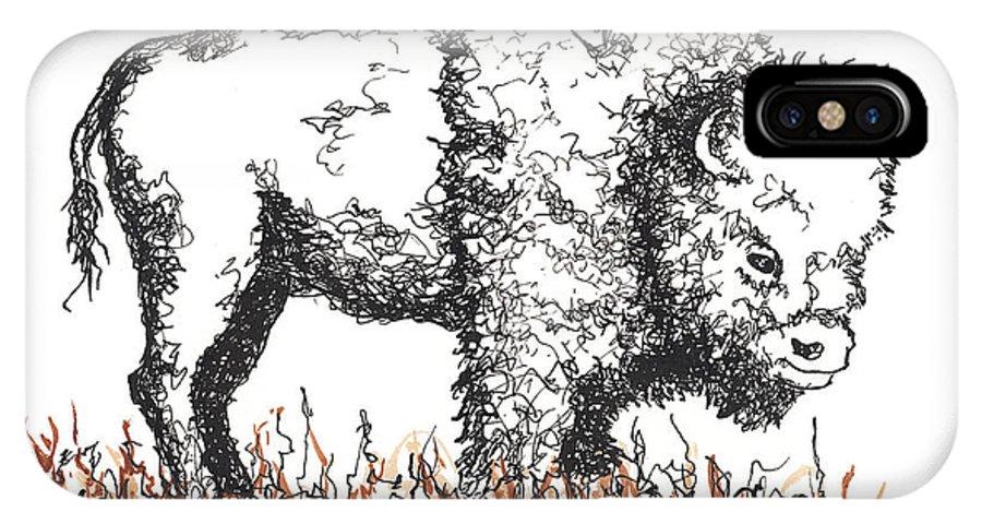 Buffalo IPhone X Case featuring the drawing Buffalo by Peter Rashford