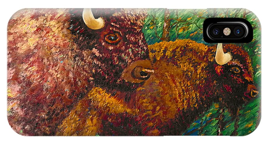Buffaloes IPhone X Case featuring the painting Buffaloes by Francesca Kee