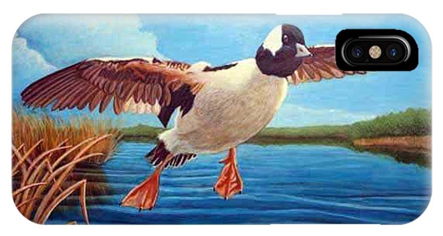Rick Huotari IPhone X Case featuring the painting Buffelhead Duck by Rick Huotari
