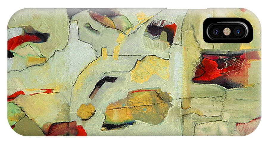 Abstract Oil Painting IPhone X Case featuring the painting Buffer Zones by Danielle Nelisse