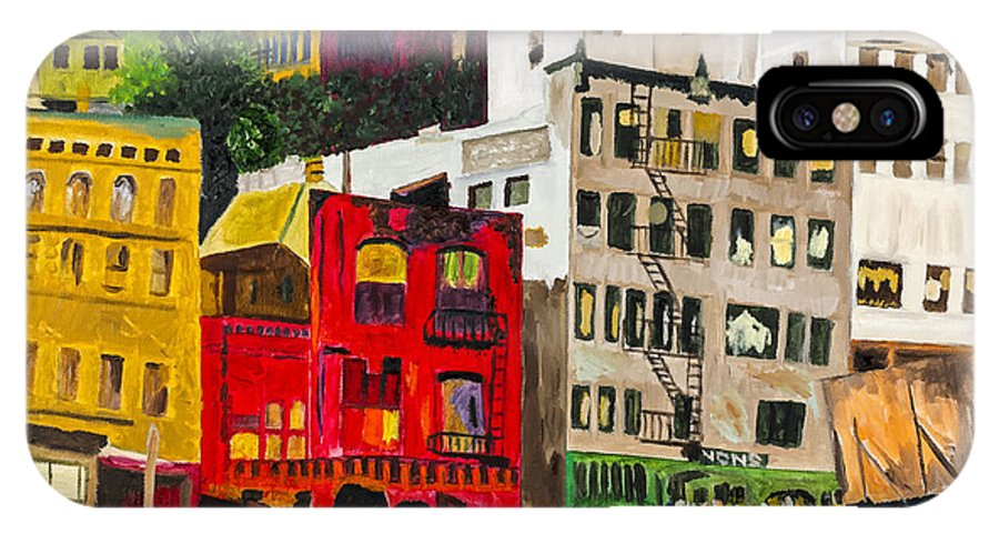 Street IPhone X Case featuring the painting Building A City By Stan Bialick by Sheldon Kralstein