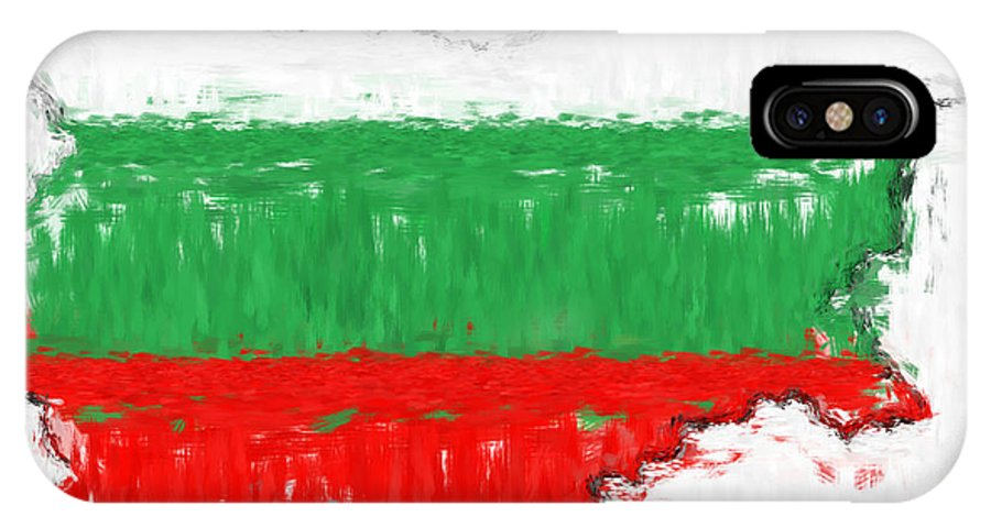 Bulgaria IPhone X Case featuring the photograph Bulgaria Painted Flag Map by Antony McAulay