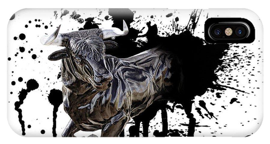 Bull IPhone X Case featuring the digital art Bull Breakout by Daniel Hagerman