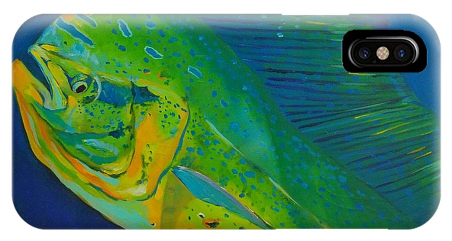 Dolphin Fish IPhone X Case featuring the painting Bull Portrait by Yusniel Santos