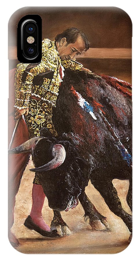 Portrait IPhone X Case featuring the painting Bullfighter by Chieko Amadon