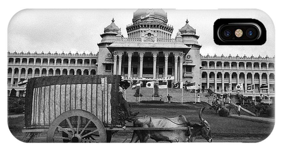 Vidhana Soudha Building And Bullock Cart Bangalore Karnataka India Asia 1977  IPhone X Case featuring the photograph Bullock Cart And Building by Jagdish Agarwal