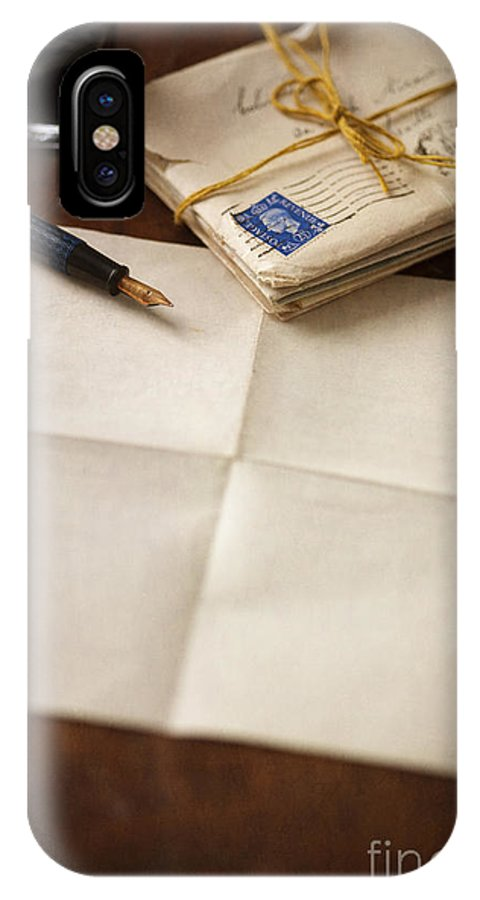Letter IPhone X / XS Case featuring the photograph Bundle Of Vintage Letters With Fountain Pen by Lee Avison