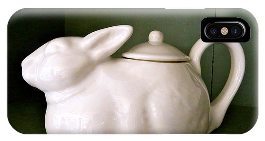 Teapot IPhone X Case featuring the photograph Bunny Teapot by Nancy Patterson