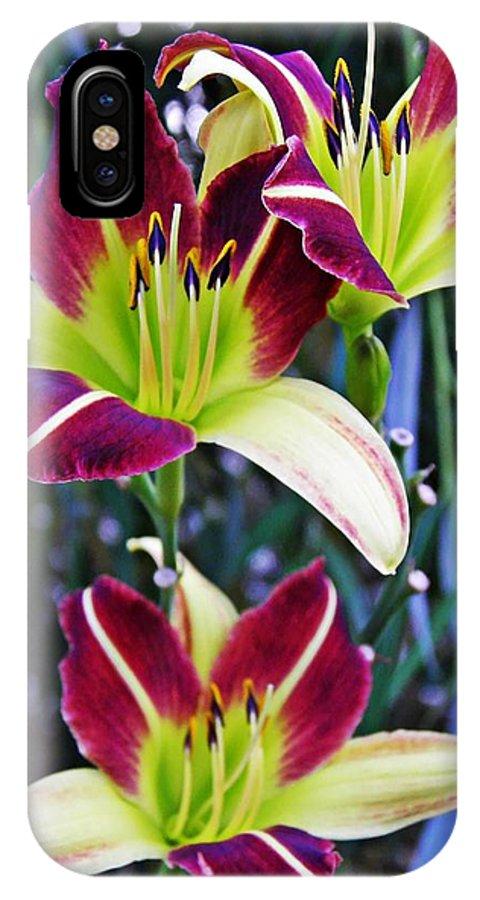 Burgundy And Yellow Lilies 3 IPhone X Case featuring the photograph Burgundy And Yellow Lilies 3 by Sarah Loft
