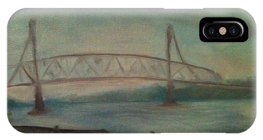 Bridge IPhone X Case featuring the painting Burlington Bristol Bridge by Sheila Mashaw