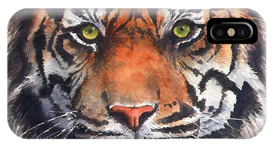 Tiger IPhone Case featuring the painting Burning Bright by Patricia Henderson