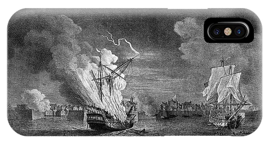 1758 IPhone X Case featuring the drawing Burning Of The 'prudent' At Louisbourg by Mary Evans Picture Library