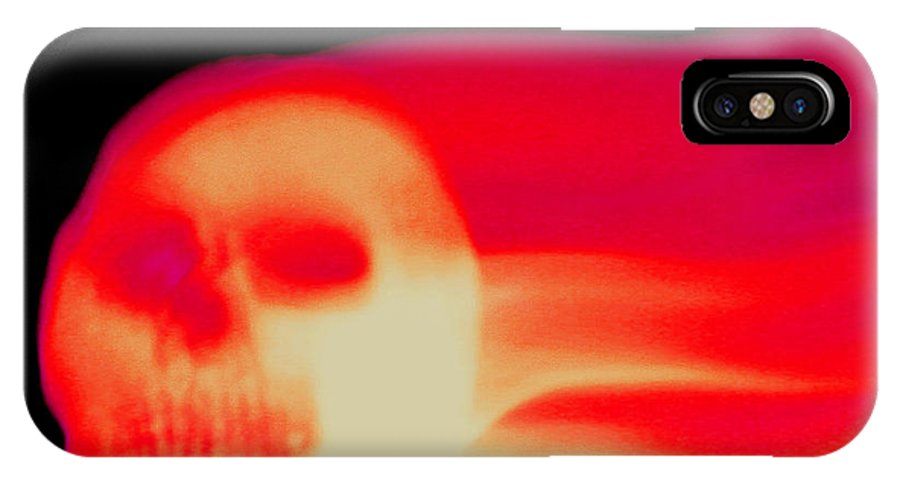 Skull IPhone X / XS Case featuring the photograph Burning Skull by Art Block Collections