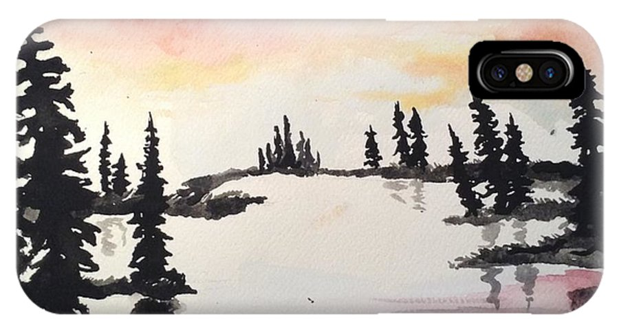 Trees IPhone X Case featuring the painting Burning Sky by Shelby Rawlusyk