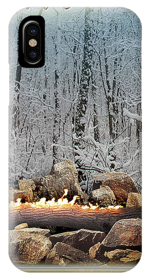 Yule IPhone X Case featuring the digital art Burning Yule Log by Melissa A Benson