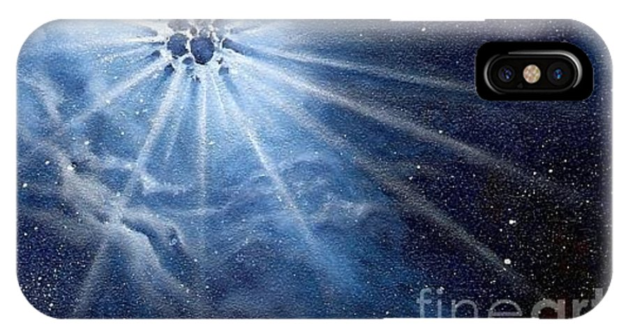 Outerspace IPhone X Case featuring the painting Burst Of Light by Murphy Elliott