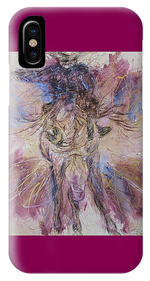 Western Abstract IPhone X Case featuring the painting Bust Em by Stacey Dykeman