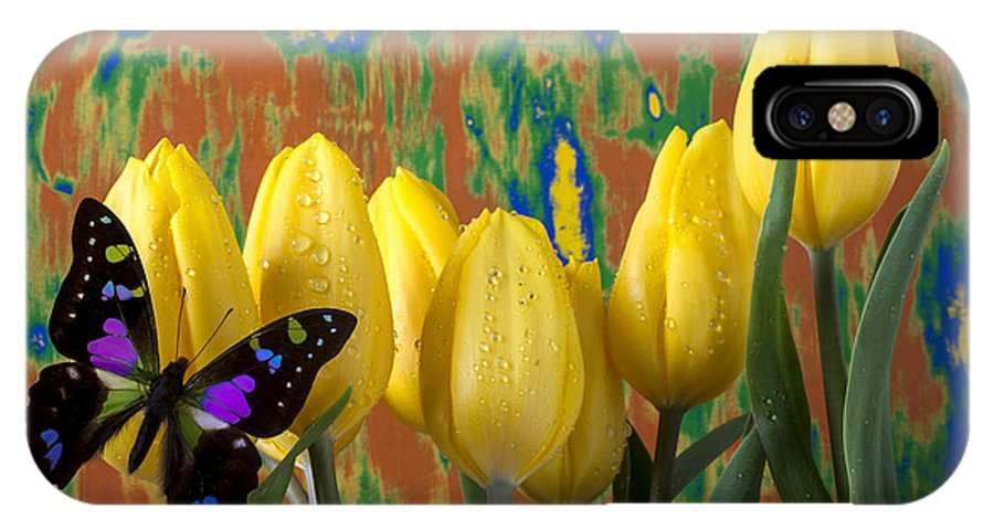Black Purple IPhone X Case featuring the photograph Butterfly Dreams by Garry Gay
