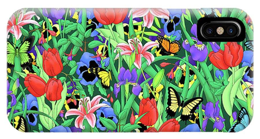 Butterfly IPhone X Case featuring the digital art Butterfly Garden by Alison Stein