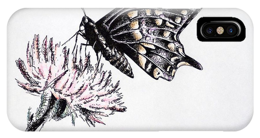 Butterfly IPhone X Case featuring the drawing Butterfly by Katharina Filus