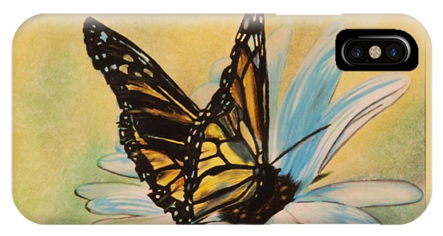 Butterly IPhone X Case featuring the drawing Butterfly On Flower by Michelle Miron-Rebbe