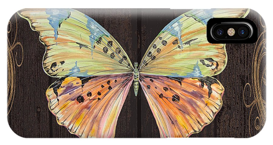 Butterfly IPhone X / XS Case featuring the painting Butterfly Tapsetry-jp2197 by Jean Plout
